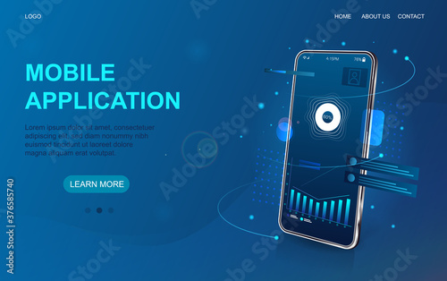 Obraz Mobile and online application development web page template showing oblique angle smartphone with on screen app and copyspace for text on blue, colored vector illustration - fototapety do salonu