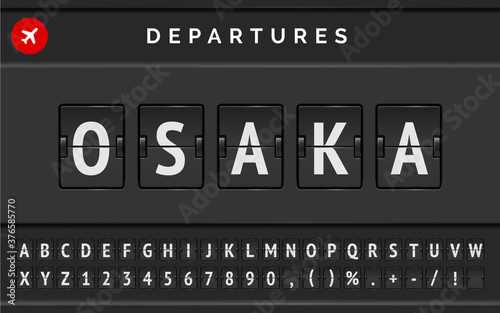 Vector mechanical airport flip board font with flight info of destination in Japan Osaka with airline departure sign Canvas Print