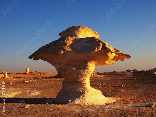Canvas Print Limestone mushroom made from wind erosion. White Desert, Egypt.