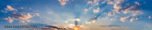 Fototapeta Panorama of Dramatic vibrant color with beautiful cloud of sunrise and sunset. Panoramic image. obraz
