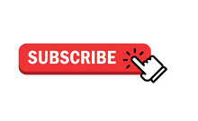 Subscribe Button With Hand Click Icon. Finger Pointer Clicking Web Site Call To Action. Clic Vector.