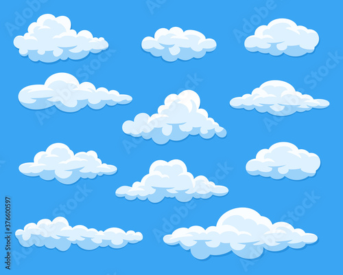 Fototapeta Set of cartoon clouds