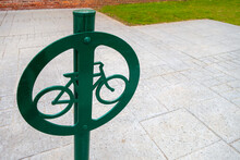 Metal In-Ground Bycycle Lock Mount Post With Circle, Bike Icon And Green Coat Paint