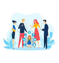 Child Person Problem, Man Woman Character Around Kid, Vector Illustration. Flat Family People Talking Above Sad Stressed Girl. Unhappy Relationship, Father Mother Teacher Pressure Little Kid.