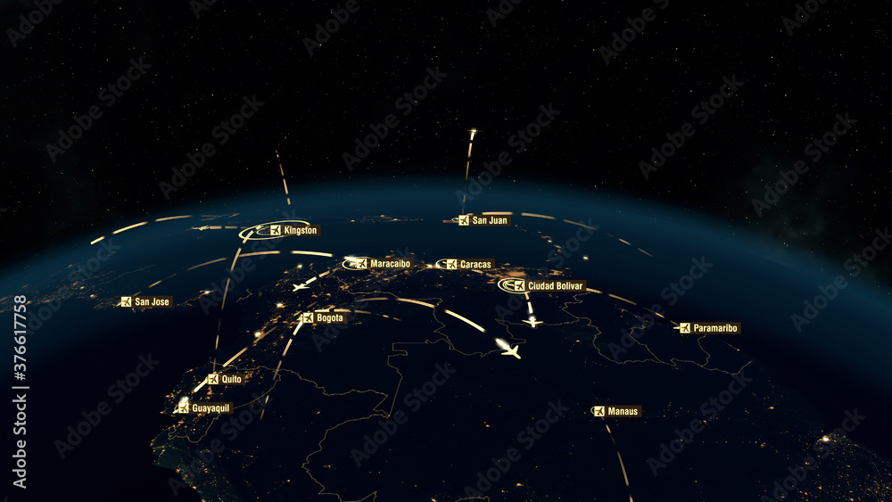 Fototapeta Global Communications and Connections over South America. Argentina, Chile, Brazil. City Lights. 3D Rendering.