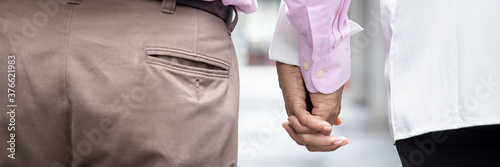 lovely senior couple holding hand, rear view Canvas
