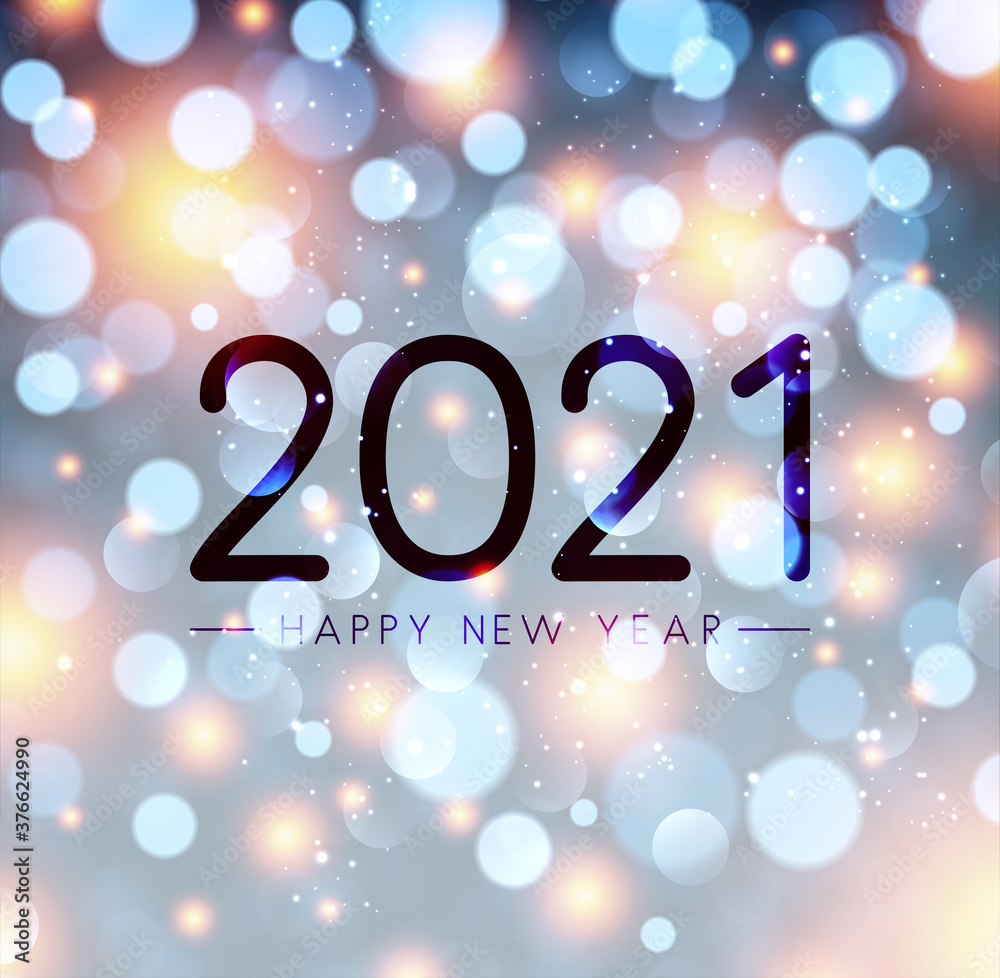 Fototapeta 2021 happy new year sign on misted glass.
