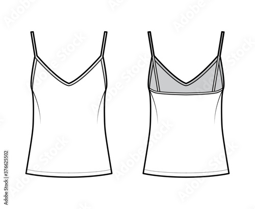 Fototapeta Camisole slip top technical fashion illustration with sweetheart neck, thin straps, relax fit, back zip fastening