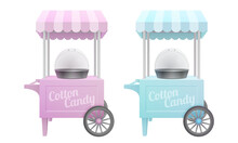 Blue And Pink Vintage Electric Commercial Cotton Candy Machine Carts With Tents. Floss Makers Isolated On White Background. 3d Realistic Vector Illustration