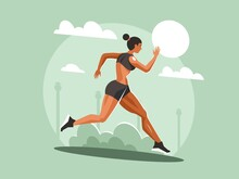 Young Sportswoman Running In The Park. Sporty Training Cardio
