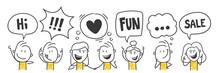 Strichfiguren / Strichmännchen: Witzig, Lustig, Kommunikation, Sprechblasen. (Nr. 545)