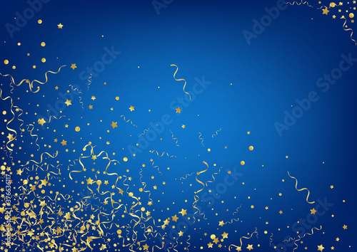 Fotografia, Obraz Gold Confetti Isolated Vector Blue Background.