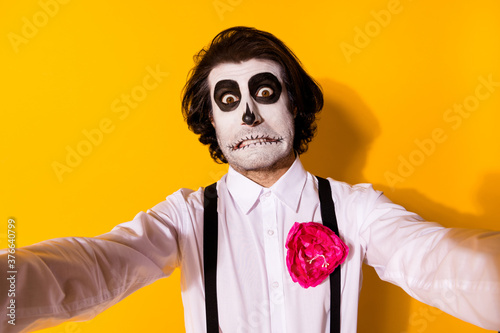 Self-portrait of his he nice handsome spooky baleful confused guy catrina celebr Wallpaper Mural
