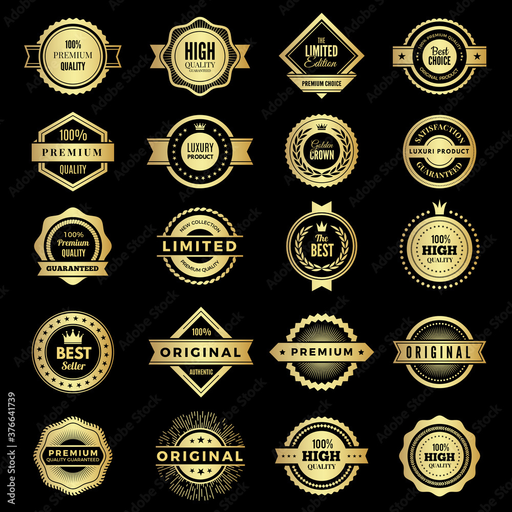 Fototapeta Badges collection. Premium promo high quality logos or badges warranty stamps vector shape. Badge label premium, guarantee and best emblem illustration