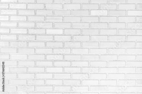 Fototapeta White brick wall texture background. Abstract weathered brickwork design backdrop. obraz na płótnie