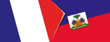 France And Haiti Flags, Two Vector Flags.