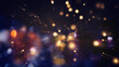 Leinwandbild Motiv Festive abstract christmas texture, golden bokeh particles and highlights on dark background