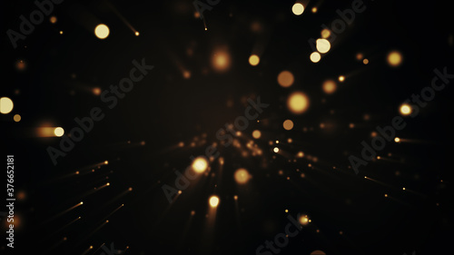 Festive abstract christmas texture, golden bokeh particles and highlights on dark background - 376652181