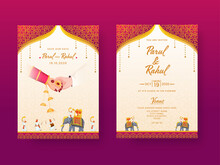Indian Wedding Invitation Card, Template Layout With Venue Details In Front And Back View.