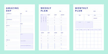 Daily, Weekly, Monthly  Planner Template. .3 Set Of Minimalist Planners. Clear And Simple Printable To Do List. Business Organizer Page. Paper Sheet. Realistic Vector Illustration.