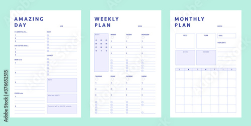 Obraz  Daily, weekly, Monthly  planner template. .3 Set of minimalist planners. Clear and simple printable to do list. Business organizer page. Paper sheet. Realistic vector illustration. - fototapety do salonu