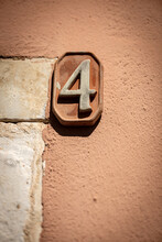 Close-up Of House Number 4 (four) On The Wall In The Small Village Of Tellaro. Liguria, Italy, Europe