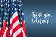 American flags, perfect image for Veterans Day. American patriotism concept. November 11th - Honoring all who served.