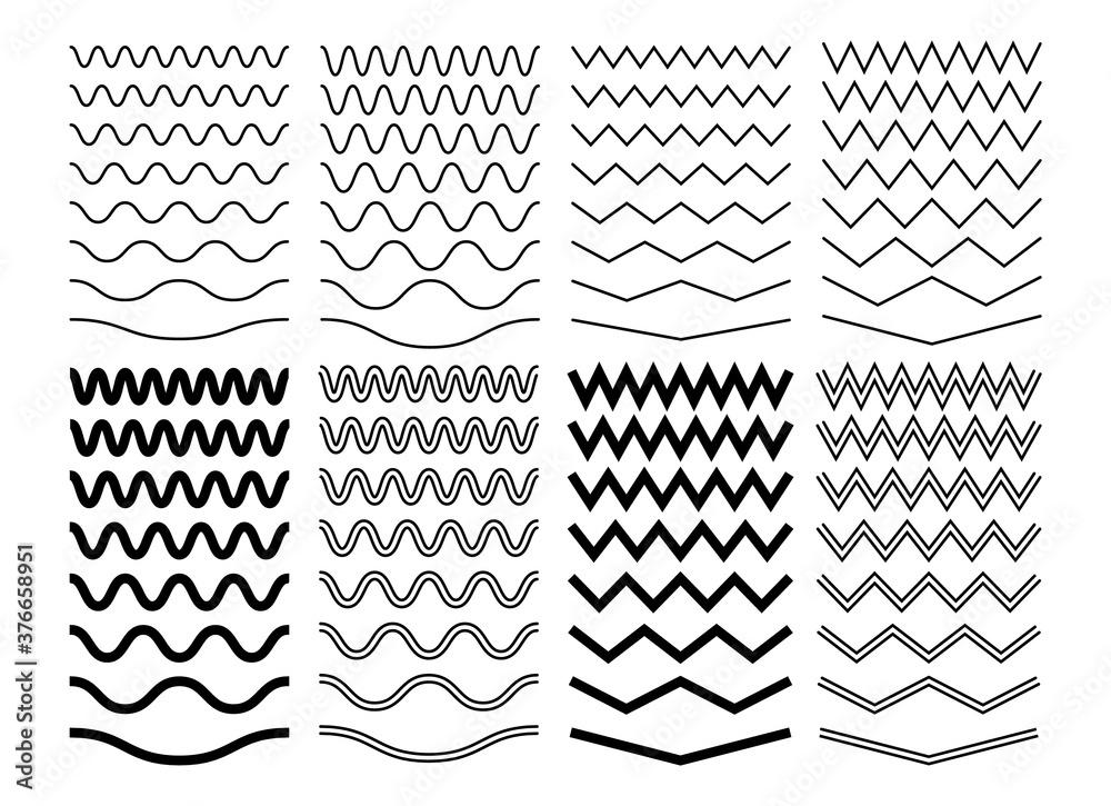 Fototapeta Zigzag wave lines. Geometric zig zag pattern, isolated curve borders. Wavy decoration divider, black curvature separator sine. Parallel graphic strokes vector set. Illustration pattern zig zag