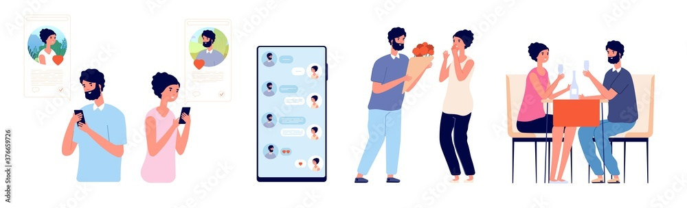 Fototapeta Smartphone dating chat. Online love, girl flirting with guy or romantic date. Cute couple use mobile texting and meeting vector illustration. Couple date in smartphone app, communication and dating