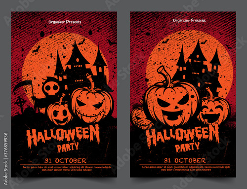 Halloween night party background with full Moon, Halloween banners with pumpkins Wallpaper Mural