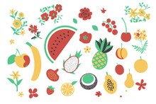 Fruits And Flowers Set