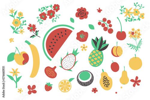 Fotografia, Obraz Fruits and flowers set