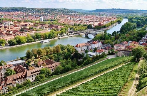 Würzburg, Festung Marienberg, Blick ins Maintal Fototapete