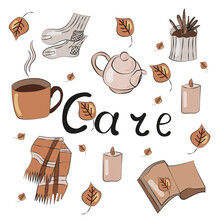 Hygge Cozy Home Set Hand Drawn In Doodle Style. Collection Of Elements For Design Of Badge, Sticker, Poster, Card. Vector. Mug, Plant, Plaid, Book, Cat, Socks, Kettle, Candle