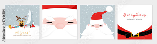 Fototapeta Christmas card set. Merry Christmas and Happy New Year greeting with cute santa claus lettering vector obraz