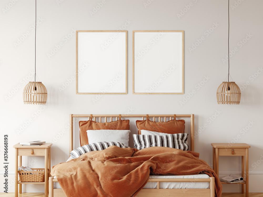 Fototapeta Frame & poster mockup in Boho style interior. 3d rendering, 3d illustration
