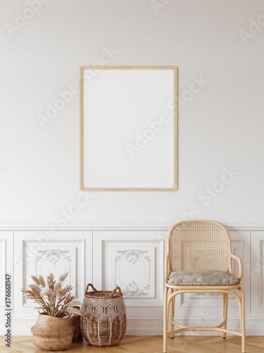Fototapeta Frame & poster mockup in Boho style interior. 3d rendering, 3d illustration  obraz na płótnie