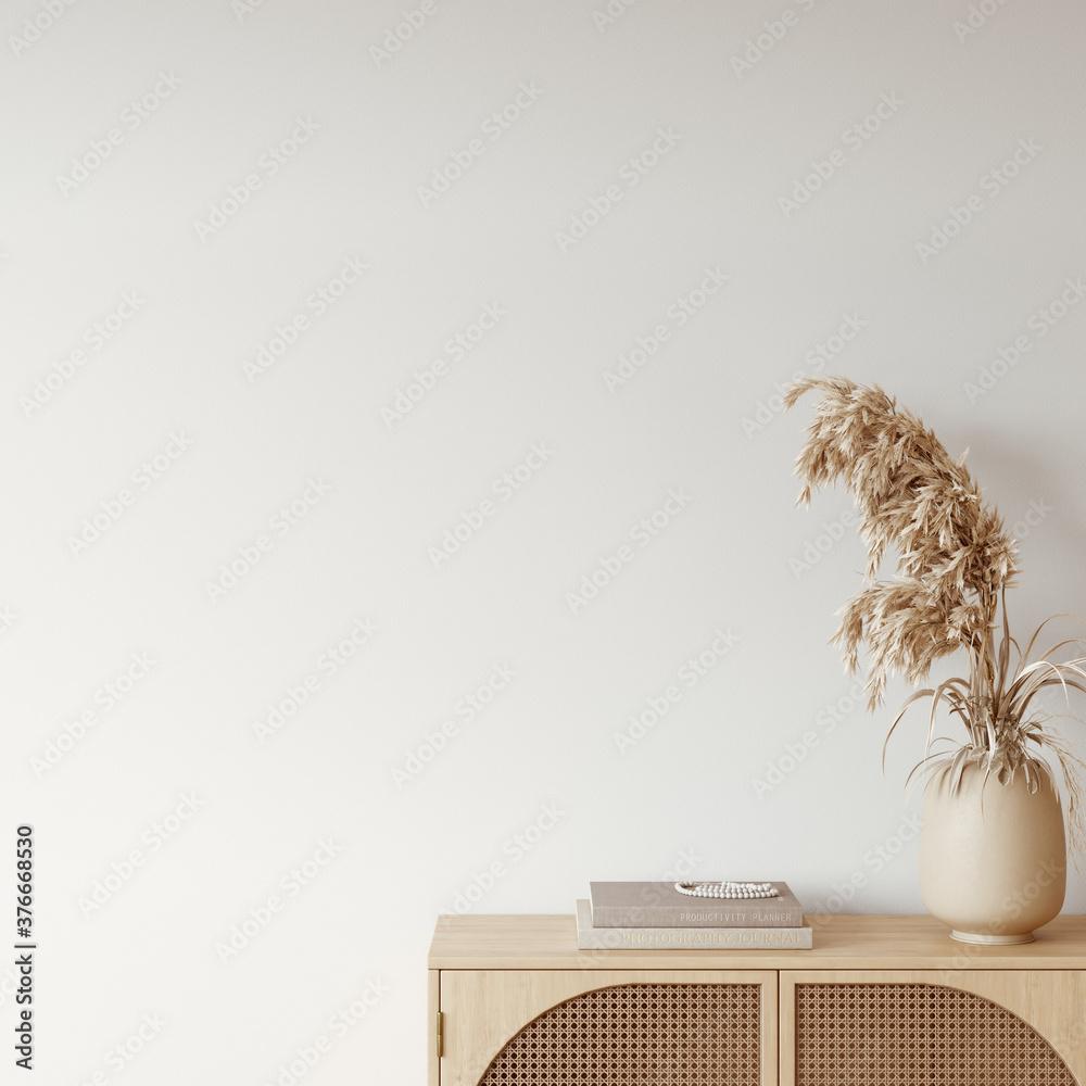Fototapeta Boho interior style. Wall mockup. Wall art. 3d rendering, 3d illustration