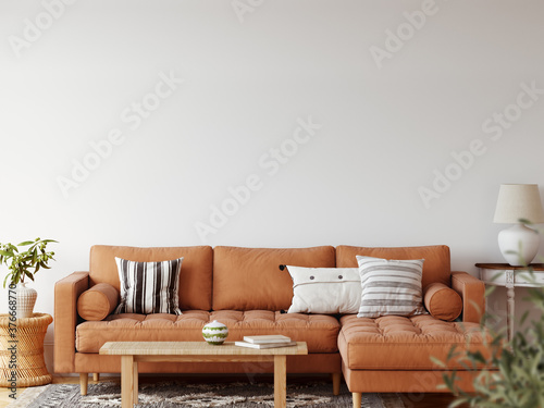 Fototapeta Boho interior style. Wall mockup. Wall art. 3d rendering, 3d illustration  obraz