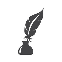 Bird Feather In Inkwell Black Vector Icon. Quill Pen In Ink Stand Or Well Glyph Symbol.