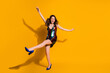 canvas print picture - Full length body size view of her she nice-looking attractive cheerful cheery wavy-haired lady having fun dancing free time holiday weekend isolated bright vivid shine vibrant yellow color background