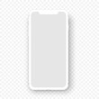 Vector mobile device.White smartphone mockup. Cellphone frame with blank display isolated templates.