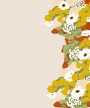 Fondo Liso Color Rosado Con Muchas Flores De Varios Colores A Un Lado