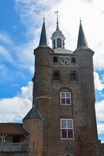Tower With Bells From The Zuidhavenpoort City Gate In The Old Town Of Zierikzee, Netherlands