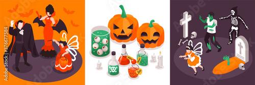 Isometric Halloween Design Concept Canvas Print