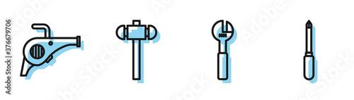 Set line Adjustable wrench, Leaf garden blower, Sledgehammer and Screwdriver icon Canvas Print