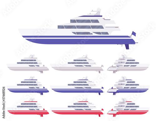 Fotografia Yacht set, blue, white, red luxury boat for sea cruising, ocean racing adventure