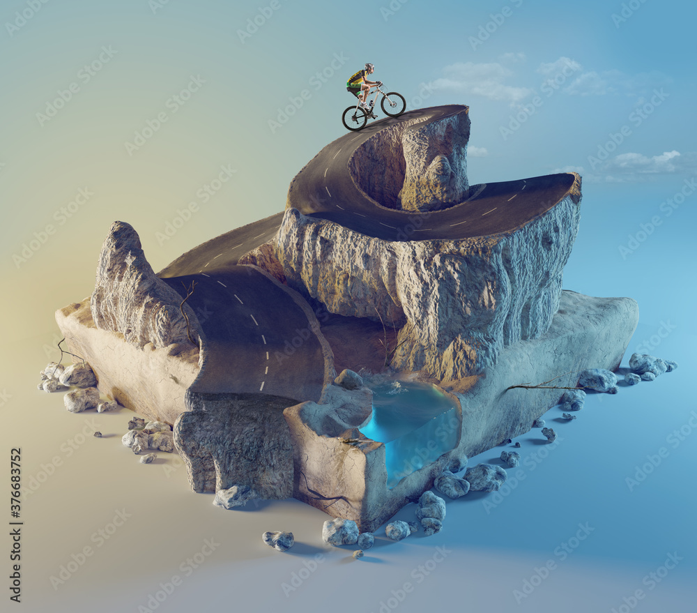 Fototapeta Sports and travel background. 3d illustration with cut of the ground and the desert road and the lake.