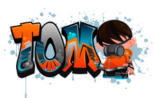 Tom. A Cool Graffiti Styled Name Design. Legible Letters For All Ages.