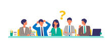Business Conference Concept. Vector Illustration Of People Having A Meeting. Concept For Conference, Boardroom.